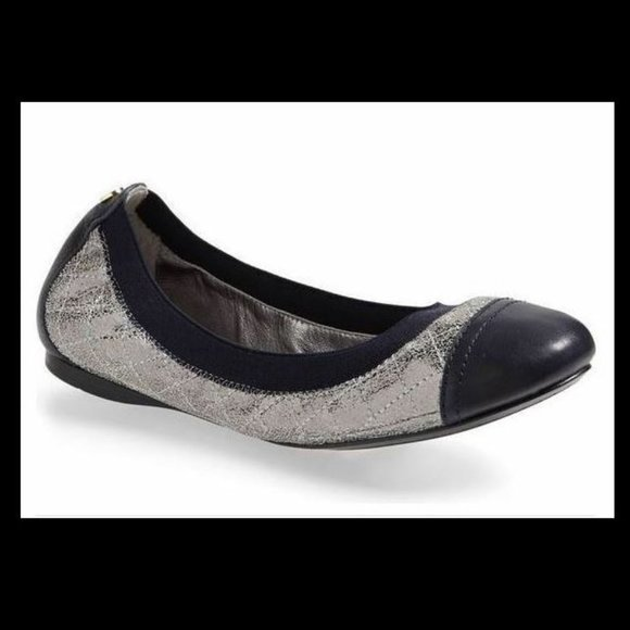 Tory Burch Women Bridgette Ballet Flat Pewter/Navy